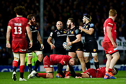 Luke Cowan-Dickie of Exeter Chiefs celebrates winning possession of the ball back from Saracens - Mandatory by-line: Ryan Hiscott/JMP - 29/12/2019 - RUGBY - Sandy Park - Exeter, England - Exeter Chiefs v Saracens - Gallagher Premiership Rugby