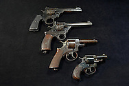 Webley Revolver Comparison - Top to bottom, Mark VI, Fosbery .38, RIC, Bulldog