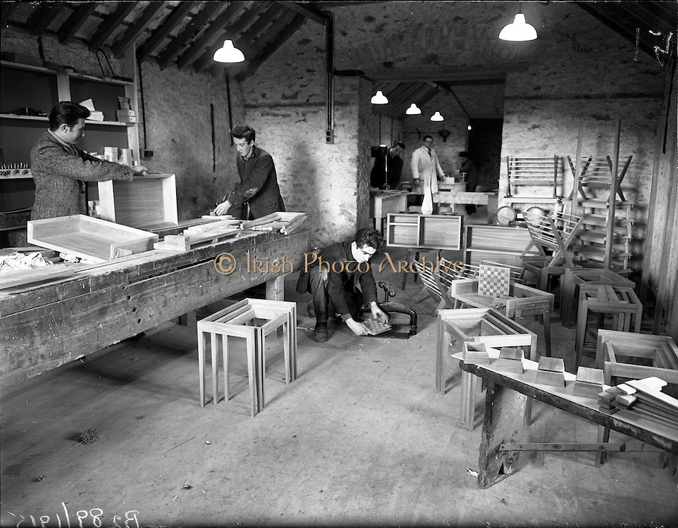 26-29/01/1960<br /> 01/26-29/1960<br /> 26-29 January 1960<br /> Gael-Linn Special at Gweedore and Teelin Co. Donegal. Image shows a carpentry or woodwork/furniture workshop.