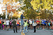 Goshen, New York  - Runners line up on the starting line at the Hambletonian Marathon on Sunday, Oct. 20, 2013.