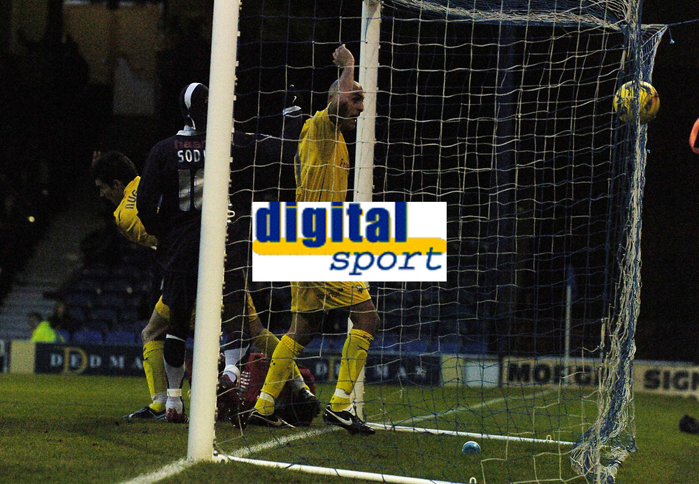Photo: Olly Greenwood.<br />Southend United v Preston North End. Coca Cola Championship. 11/11/2006. Preston's Danny Dichio celebrates but his goal is dissallowed for a foul on Southend's Darryl Flahavan