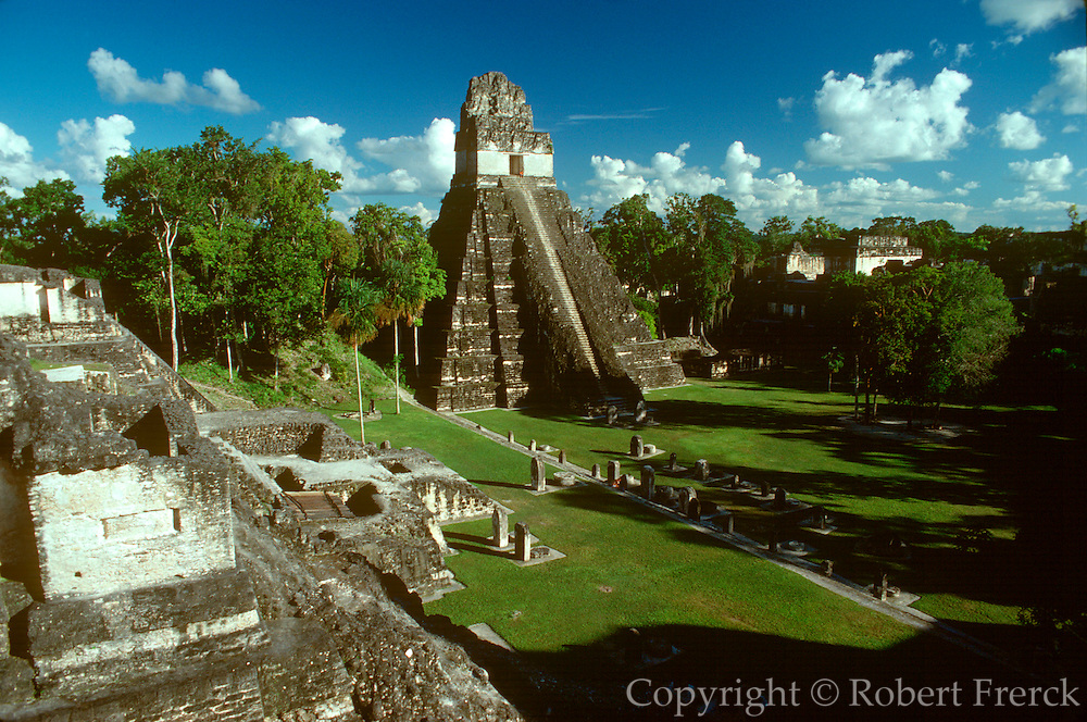 GUATEMALA, MAYAN, TIKAL #1 'Jaguar' Temple and Great Plaza