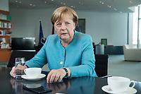 23 AUG 2017, BERLIN/GERMANY:<br /> Angela Merkel, CDU, Bundeskanzlerin, waehrend einem Interview, in Ihrem Buero, Bundeskanzleramt<br /> IMAGE: 20170823-02-005<br /> KEYWORDS: B&uuml;ro