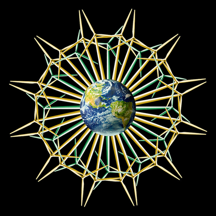 A mandala is created by surrounding the Earth with 36 yellow and green windtowers creating a flower pattern.