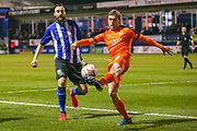 Luton Town midfielder Luke Berry (8) clears the ball during the The FA Cup 3rd round replay match between Luton Town and Sheffield Wednesday at Kenilworth Road, Luton, England on 15 January 2019.