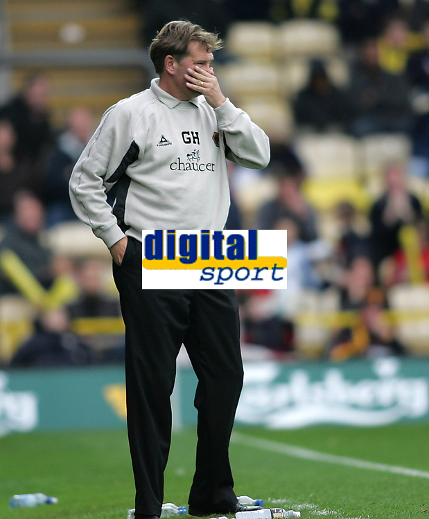 Photo: Lee Earle.<br /> Watford v Wolverhampton Wanderers. Coca Cola Championship. 29/10/2005. Wolves manager Glenn Hoddle looks shocked after their defeat.