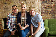 19/04/2012. London, UK. Former member of pop-rock bands Busted and Son of Dork James Bourne and writer and composer Elliot Davis introduce the cast of their original Britsih musical LOSERVILLE. Premiering at the West Yorkshire Playhouse, Leeds. Picture shows: Writers Elliot Davis and James Bourne with Eliza Hope Bennett (Holly).