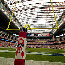 October 10, 2010; Houston, TX USA; A pink logo is seen on the goal post during a game between the Houston Texans and the New York Giants in support of the NFL's Crucial Catch campaign in support of breast cancer awareness month throughout the month of October at Reliant Stadium. Mandatory Credit: Derick E. Hingle