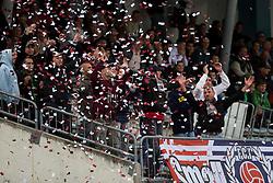 NK Triglav fans during football match between NK Triglav and NK Luka Koper in 12th Round of Slovenian First League PrvaLiga NZS 2012/13 on September 30, 2012 in Sports park Kranj, Slovenia. Triglav defeated Luka Koper 4-0. Kranj, Slovenia. (Photo by Grega Valancic / Sportida)