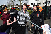 Lewis Cook (16) of AFC Bournemouth having a picture with a fan before the Premier League match between Bournemouth and Crystal Palace at the Vitality Stadium, Bournemouth, England on 7 April 2018. Picture by Graham Hunt.