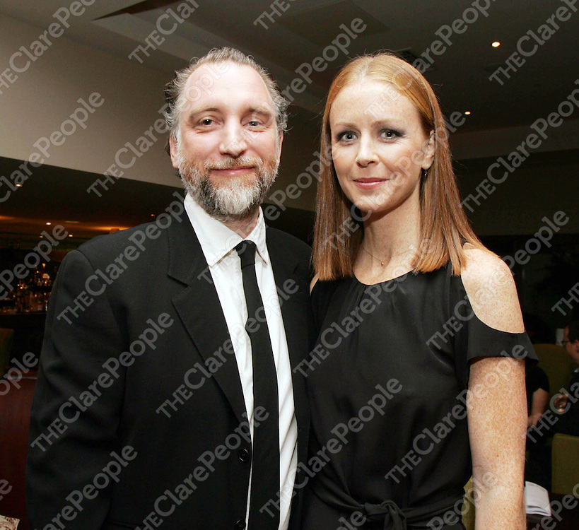 Cuan Hanly congratulates his wife, Jean Butler after she received an Alumni award at the University of Limerick awards ceremony in the Savoy Hotel, Limerick last week.<br /> Pic. Brian Arthur/ Press 22.