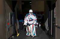 KELOWNA, CANADA - MARCH 11: Michael Herringer #30 of the Kelowna Rockets walks to the ice against the Victoria Royals on March 11, 2017 at Prospera Place in Kelowna, British Columbia, Canada.  (Photo by Marissa Baecker/Shoot the Breeze)  *** Local Caption ***
