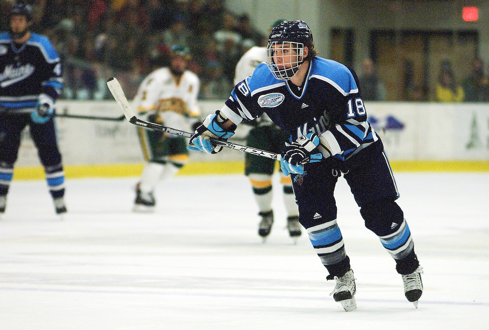 29 November 2008: Black Bears forward Keif Orsini #18 in action during the Vermont Catamounts win 3-2 over the Maine Black Bears at Gutterson Fieldhouse in Burlington, Vermont.