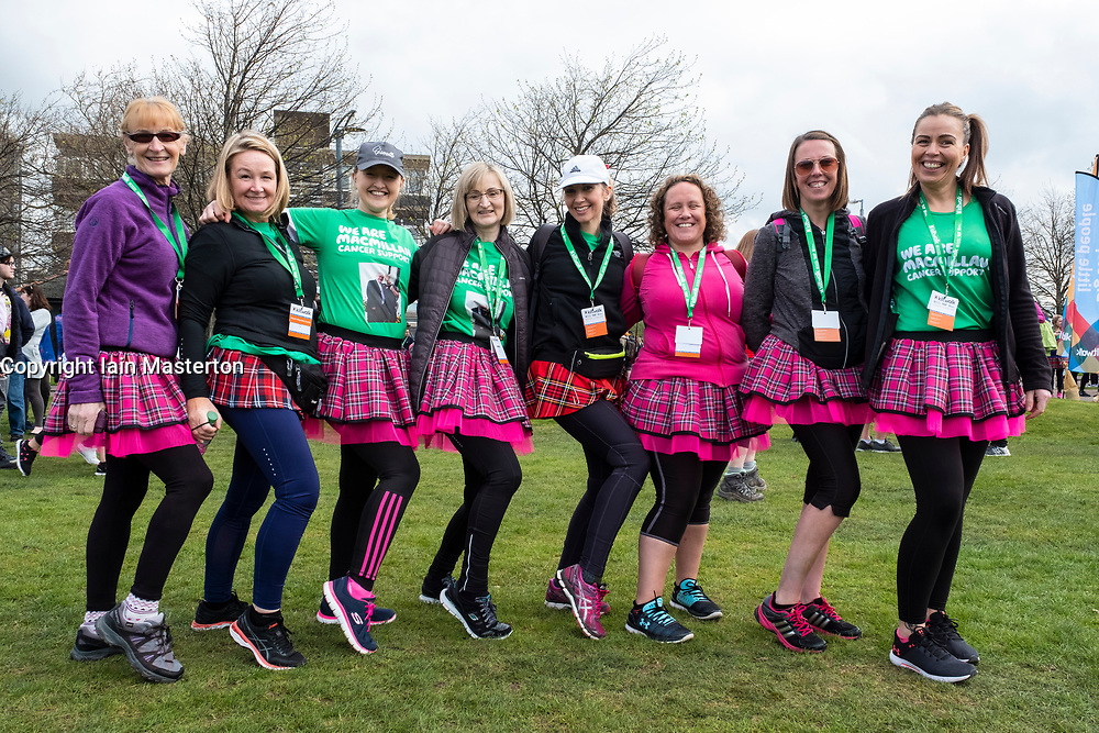 Glasgow, UK. 29 April, 2018. Start of Kiltwalk 2018 at Glasgow Green in Glasgow. Major charity fundraising walk is taking place in Scotland supported by The Hunter Foundation. Route is 23 Miles and ends at Balloch. Pictured; The Meandering Midwives from the Queen Elizabeth Hospital in Glasgow.
