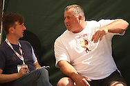 Journalist Alistair Ross (The Sun, UK) interviews Mark Westaby (UK) at the World's Strongest Man competition held in Sun City, South Africa.