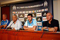 FOOTBALL - MISCS - FRENCH CHAMPIONSHIP 2010/2011 - OLYMPIQUE DE MARSEILLE - 24/08/2010 - PHOTO PHILIPPE LAURENSON / DPPI - PRESENTATION ANDRE PIERRE GIGNAC WITH DIDIER DESCHAMP (COACH) / JEAN CLAUDE DASSIER (PRESIDENT) / JOSE ANIGO (SPORT DIRECTOR)