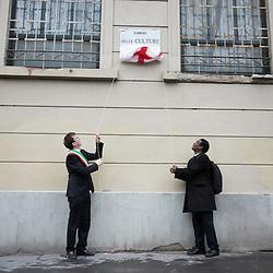 Anteprima del nuovo Museo delle Culture - MUDEC a Milano <br /> Foto Piero Cruciatti / LaPresse<br /> 26-03-2015 Milano, Italia<br /> Cultura<br /> L&rsquo;assessore alla Cultura Filippo del Corno interviene alla cerimonia di intitolazione del Largo delle Culture, all'incrocio tra le vie Bergognone e Tortona. <br /> <br /> <br /> Preview of the new Museo delle Culture - MUDEC in Milano<br /> Photo Piero Cruciatti / LaPresse<br /> 26-03-2015 Milan, Italy<br /> Culture<br /> Filippo Del Corno, Councillor for Culture for the Municipality of Milan, attends the naming ceremony of Largo delle Culture