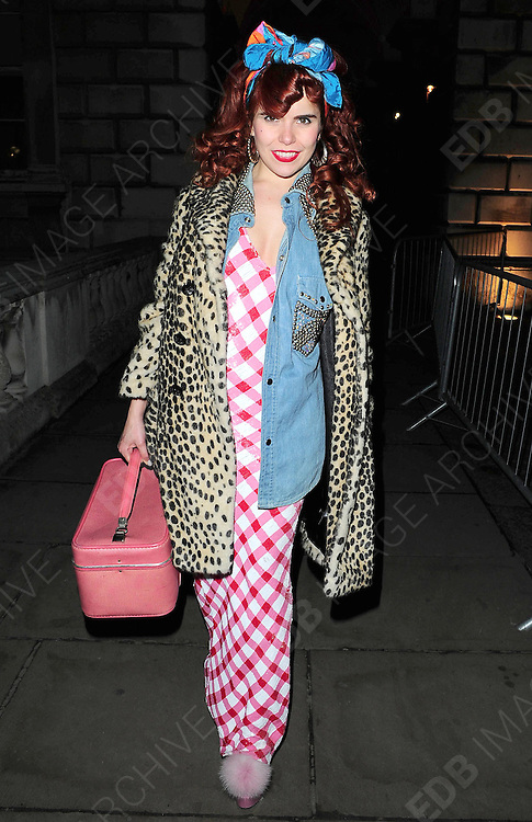 22.FEBRUARY.2011. LONDON<br /> <br /> PALOMA FAITH ARRIVING AT SOMERSET HOUSE WEARING FLUFFY HIGH HEELS FOR LONDON FASHION WEEK 2011 IN LONDON<br /> <br /> BYLINE: EDBIMAGEARCHIVE.COM<br /> <br /> *THIS IMAGE IS STRICTLY FOR UK NEWSPAPERS AND MAGAZINES ONLY*<br /> *FOR WORLD WIDE SALES AND WEB USE PLEASE CONTACT EDBIMAGEARCHIVE - 0208 954 5968*