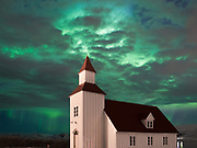 Northern lights at church Glæsibæjarkirkja.