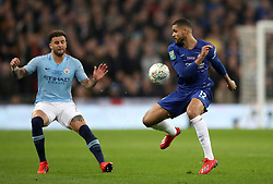 Chelsea's Ruben Loftus-Cheek (right) flicks the ball behind himself and past Manchester City's Kyle Walker during the Carabao Cup Final at Wembley Stadium, London.