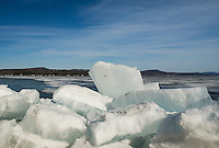 Leslie Roberts Beach in Belmont is still in need of some Spring cleanup as large ice chunks washed up on shore from strong winds on Lake Winnisquam this week.  (Karen Bobotas/for the Laconia Daily Sun)