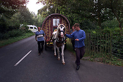 Gypsies protest in Horsmonden, because their fair has been stopped by the local council. The fair has been held for years and this is the first year that it has been cancelled. Jake Bower-Burbridge leading the protest, September 10, 2000..Photo by Andrew Parsons/i-Images.