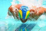Belo Horizonte_MG, Brasil...Nadador Kaio Matos, do Brasil, na prova de 50m borboleta, durante a  ultima etapa da Copa do Mundo de Natacao 2006 em Belo Horizonte...The swimmer Kaio Matos, of Brazil, in the 50 m butterfly, during the last stage of the Swimming World Cup 2006 in Belo Horizonte...Foto: LEO DRUMOND / NITRO.O nadador Kaio Matos, ganhador da  prova de 50m borboleta com o tempo de (23.30) durante a  ?ltima etapa da copa de  mundo de natacao, hoje, sabado 11 de fevereiro de 2006 na cidade de Belo Horizonte, Brasil. EFE/ LEO DRUMOND..