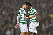 Tom Rogic and Dedryck Boyata during the Betfred Cup Final between Celtic and Aberdeen at Hampden Park, Glasgow, United Kingdom on 2 December 2018.