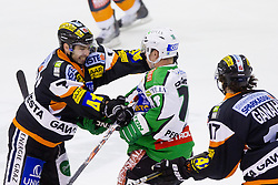 Sebastien Bisaillon (Moser Medical Graz 99ers, #7) vs Ken Ograjensek (HDD Tilia Olimpija, #18) during of ice-hockey match between Moser Medical Graz 99ers and HDD Tilia Olimpija in 11th Round of EBEL league, on October 14, 2011 at Eisstadion Graz-Liebenau, Graz, Austria. (Photo By Matic Klansek Velej / Sportida)