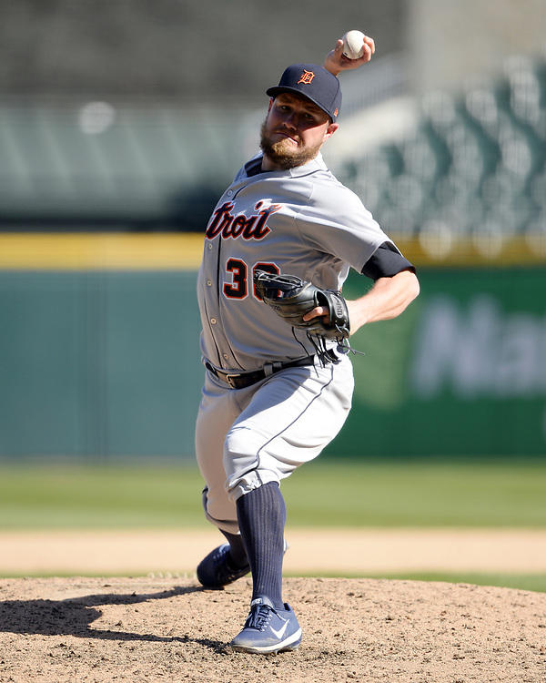 CHICAGO - APRIL 06:  Alex Wilson #30 of the Detroit Tigers pitches against the Chicago White Sox on April 6, 2017 at Guaranteed Rate Field in Chicago, Illinois.  The White Sox defeated the Tigers 11-2.  (Photo by Ron Vesely)   Subject:  Alex Wilson