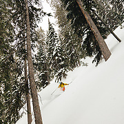 Tanner Flanagan skiing powder in the Teton backcountry off of Jackson Hole Mountain Resort.