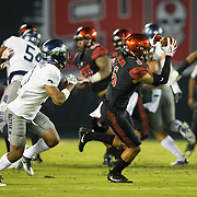 18 November 2017:  The San Diego State football team hosts Nevada Saturday night. San Diego State Aztecs wide receiver Mikah Holder (6) catches a pass for a first down in the first quarter. The Aztecs lead 21-14 at the half. <br /> www.sdsuaztecphotos.com