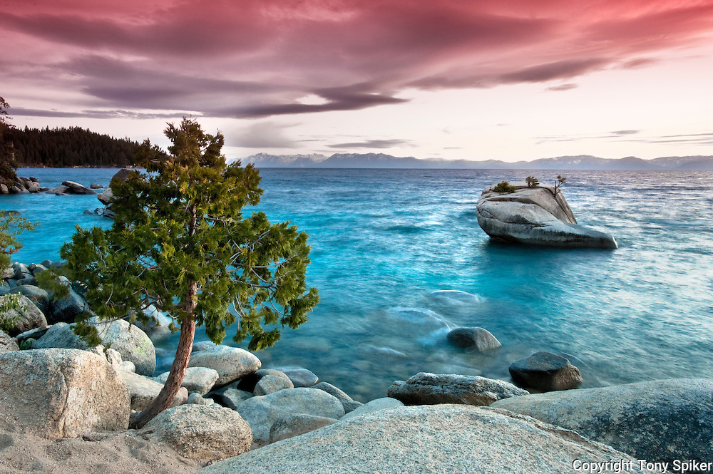 """Bonsai Rock Sunset 4"" - The sun sets over Bonsai Rock on the Eastern Shore of Lake Tahoe"