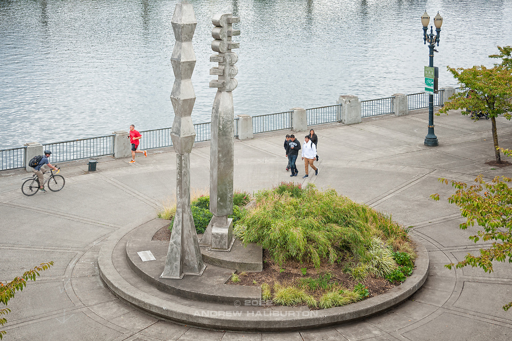 "The ""Friendship Circle"" sculpture (1990) on Portland's Waterfront Park Trail commemorates 30 years of the Sister City relationship between Sapporo, Japan and Portland. Design of the sculpture was a collaboration between sculptor Lee Kelly and composer Michael Stirling."
