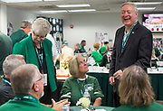 President Duane Nellis and Ruthie Nellis talk to a table of guests on Sept. 2, 2017 in the Presidents box at Peden Stadium before the start of the football game against the Hampton Pirates.