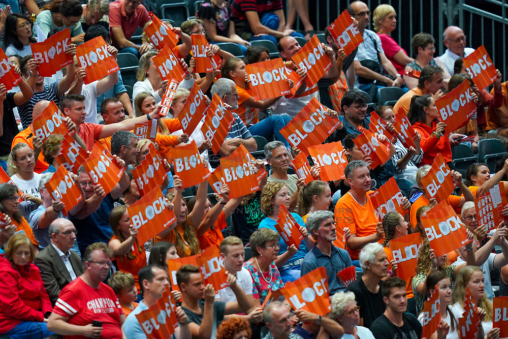 09-08-2019 NED: FIVB Tokyo Volleyball Qualification 2019 / Netherlands, - Korea, Rotterdam<br /> First match pool B in hall Ahoy between Netherlands - Korea (3-2) for one Olympic ticket / Support Team NL, orange fans