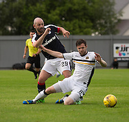 Dundee&rsquo;s Gary Harkins tussles with Dumbarton' s Darren Barr - Dumbarton v Dundee, pre-season friendly at the Cheaper Insurance Direct Stadium, Dumbarton<br /> <br />  - &copy; David Young - www.davidyoungphoto.co.uk - email: davidyoungphoto@gmail.com