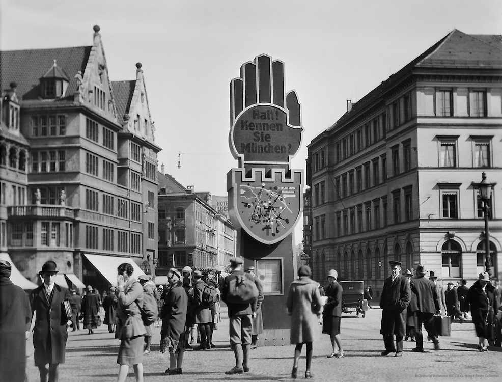The Giant Hand Street Sign, Munich, 1925