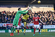 Nottingham Forest goalkeeper Costel Pantilimon (1) makes a save during the EFL Sky Bet Championship match between Burton Albion and Nottingham Forest at the Pirelli Stadium, Burton upon Trent, England on 17 February 2018. Picture by Richard Holmes.