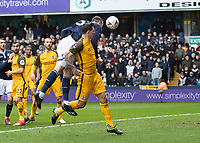 Football - 2018 / 2019 Emirates FA Cup - Sixth Round, Quarter Final : Millwall vs. Brighton<br /> <br /> Jake Cooper (Millwall FC) rises over the back of a Brighton defender to head at goal at The Den.<br /> <br /> COLORSPORT/DANIEL BEARHAM
