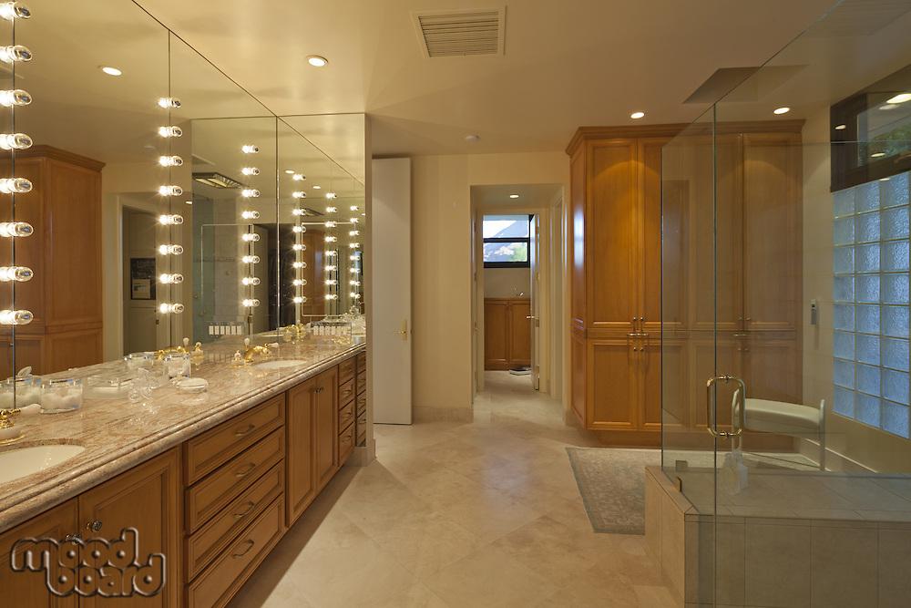 Interior of spacious bathroom with spa
