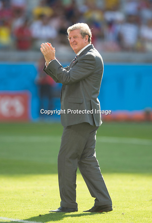 Roy Hodgson salutes the England fans at the end of the match as his team are eliminated from the World Cup after drawing 0-0 with Costa Rica<br /> <br /> Costa Rica v England - World Cup Group D - Stadio Mineirao - Belo Horizonte<br /> <br /> Picture : Mark Pain/Offside<br /> 24/6/2014