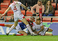 Tom Johnstone of England beats Paul Marcon of France to score during the International Friendly match at Leigh Sports Village, Leigh<br /> Picture by Steve McCormick/Focus Images Ltd 07545 862647<br /> 17/10/2018