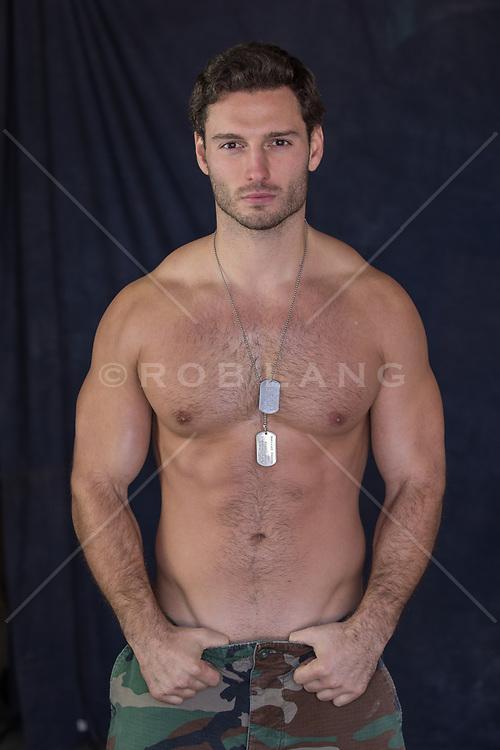 sexy shirtless army man