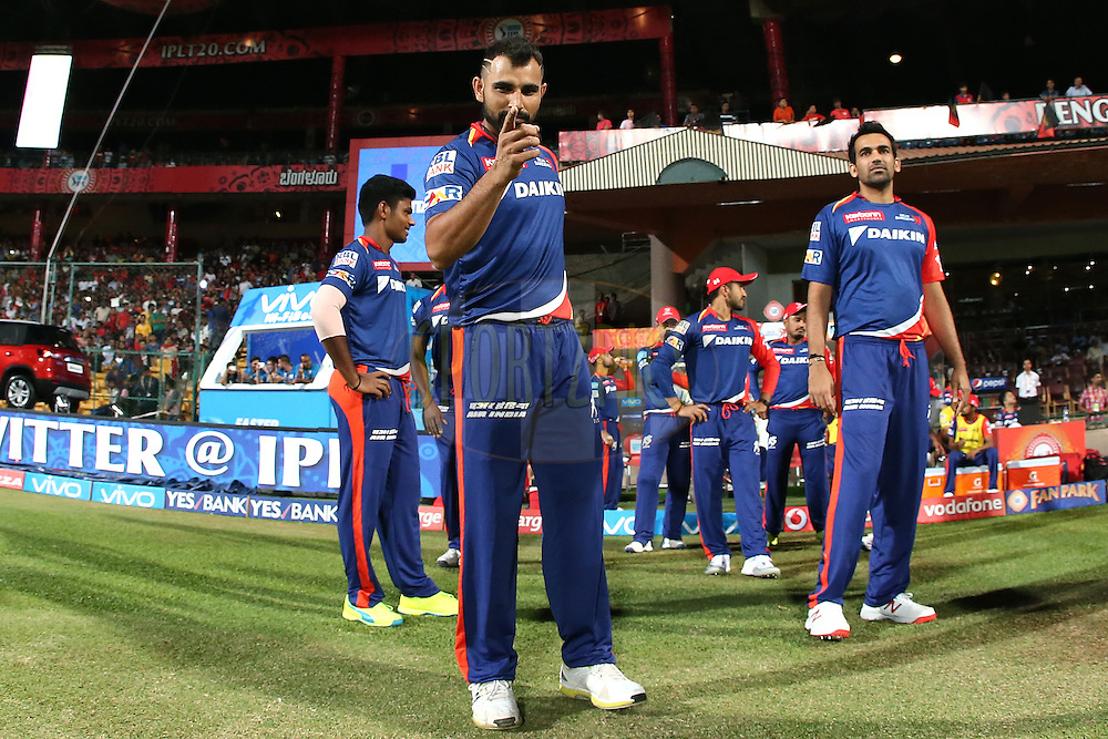 Mohammed Shami of Delhi Daredevils performs for the camera during match 11 of the Vivo IPL (Indian Premier League) 2016 between the Royal Challengers Bangalore and the Delhi Daredevils held at The M. Chinnaswamy Stadium in Bangalore, India,  on the 17th April 2016<br /> <br /> Photo by Shaun Roy / IPL/ SPORTZPICS