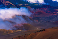 A look across the surface of the Haleakala volcano in Maui, Hawaii inside the crater walls.