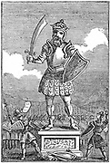 Odin the Scandinavian god, known to the Anglo-Saxons as Wotan. God of the dead: banqueted in Valhalla with those killed in battle. Wednesday is named for him.  Wood engraving, 1834