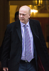 Downing Street, London, January 10th 2017. Transport Secretary Chris Grayling leaves the weekly UK cabinet meeting at 10 Downing Street as the new Parliamentary term begins.