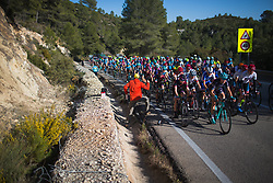 Tayler Wiles (USA) of Trek-Drops Cycling Team leads the peloton on the first longer climb of Stage 1 of the Setmana Cicilsta Valenciana - a 118 km road race, between Rotova and Gandia on February 22, 2018, in Valencia, Spain. (Photo by Balint Hamvas/Velofocus.com)