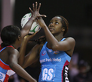Steel's Jhaniele Fowler in the ANZ netball championship match against the Swifts, Stadium Southland Velodrome, Invercargill, New Zealand, Monday, May 06, 2013. Credit:NINZ/Dianne Manson